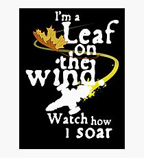 Leaf on the wind (white text) Photographic Print