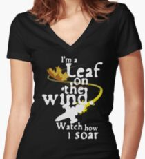 Leaf on the wind (white text) Women's Fitted V-Neck T-Shirt
