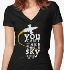 You can't take the sky from me - white text variant Women's Fitted V-Neck T-Shirt