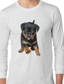 Cute Female Rottweiler Puppy Running Long Sleeve T-Shirt