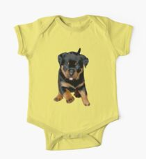 Cute Female Rottweiler Puppy Running One Piece - Short Sleeve