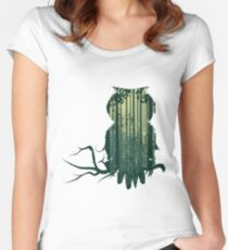 Owl and Abstract Forest Landscape Women's Fitted Scoop T-Shirt