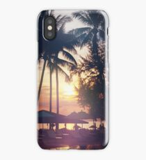 Tropical beach view. Palm trees and sunset sky. iPhone Case/Skin