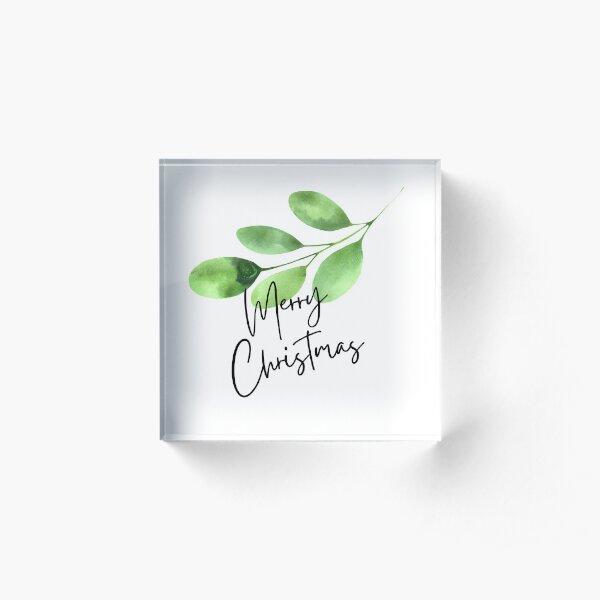Eucalyptus Merry Christmas Cards, Holiday, Personalized Christmas whishes, Custom Christmas Card , Seasons Greetings, Simple Xmas messages Acrylic Block