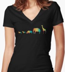 Rainbow african wild animals to scale Women's Fitted V-Neck T-Shirt