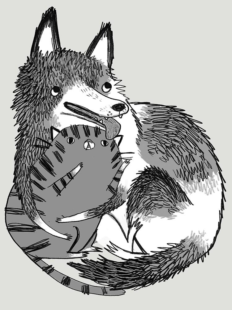 husky loves kitty | Women's T-Shirt