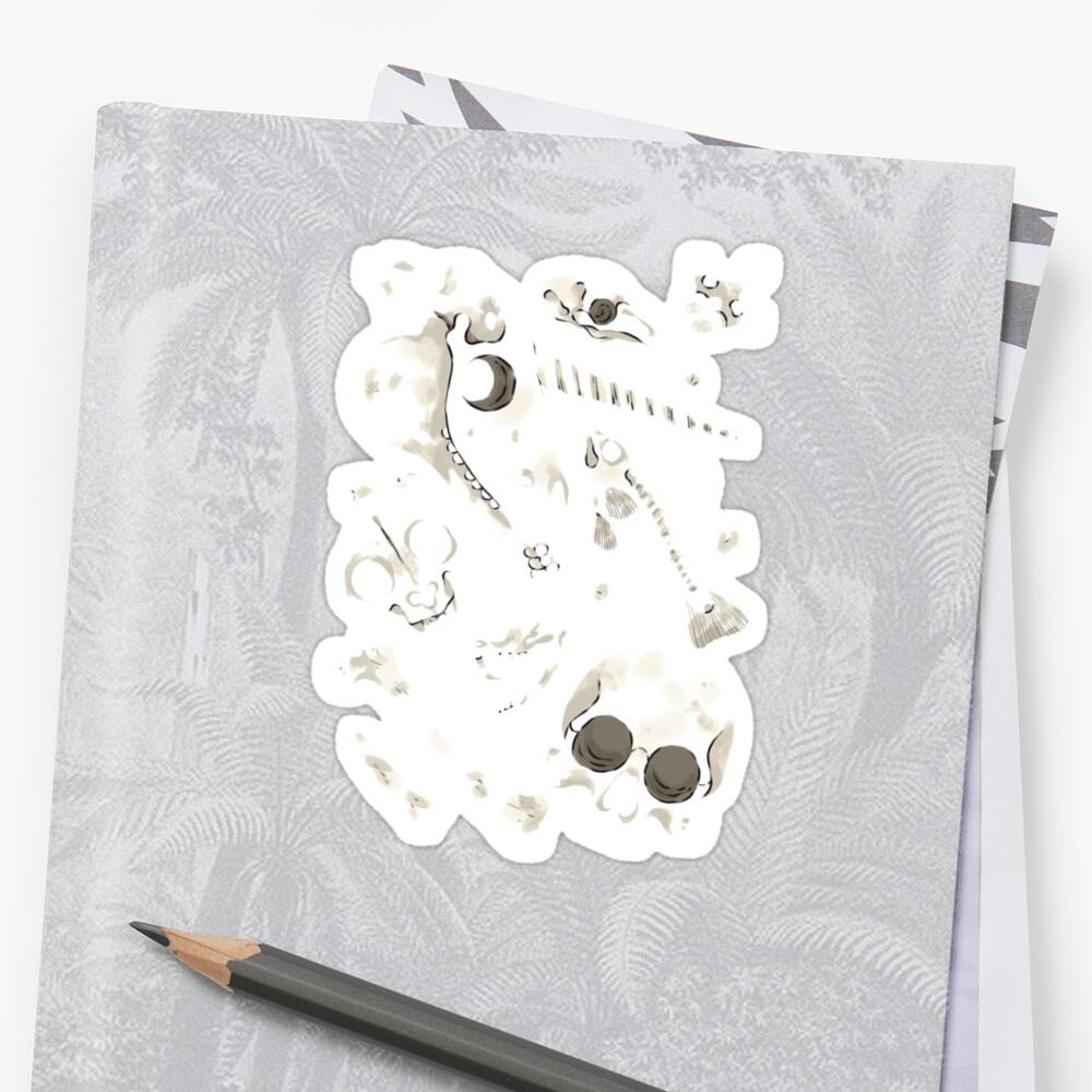 black Skulls and Bones - Wunderkammer Sticker