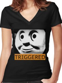 Thomas the Train (TRIGGERED) Women's Fitted V-Neck T-Shirt