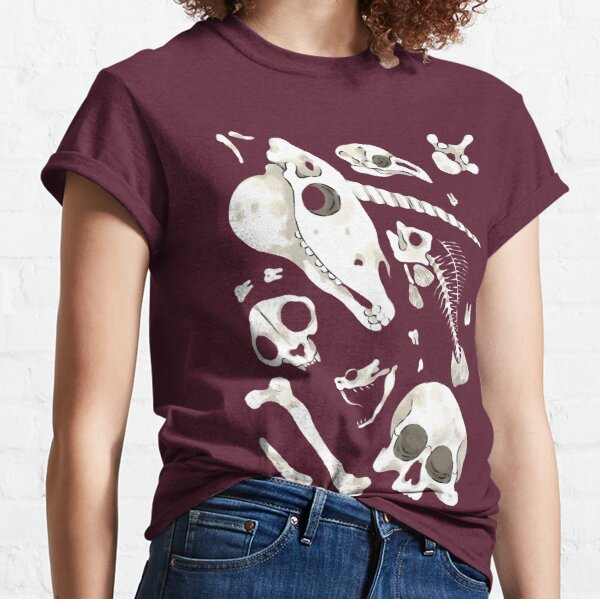 burgundy Skulls and Bones - Wunderkammer Classic T-Shirt
