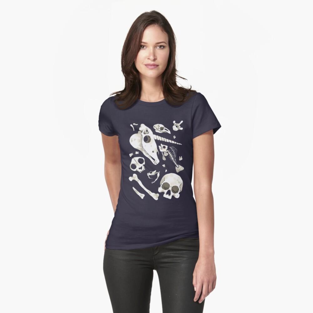 black Skulls and Bones - Wunderkammer Fitted T-Shirt