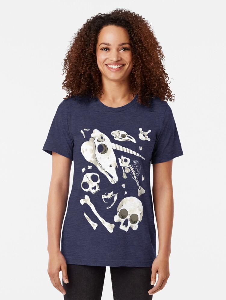Alternate view of black Skulls and Bones - Wunderkammer Tri-blend T-Shirt