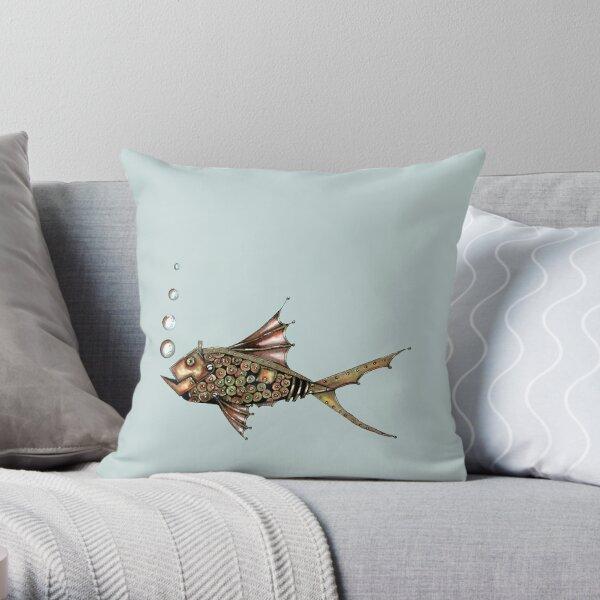 Steampunk fish Throw Pillow