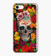 Day of the dead sugar skull with flower iPhone Case/Skin