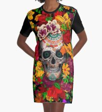 Day of the dead sugar skull with flower Graphic T-Shirt Dress