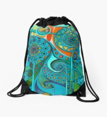 AURORA BOREALIS GREEN Drawstring Bag