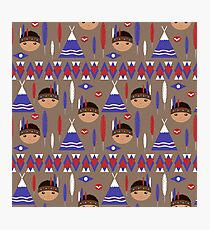 Seamless kids cute American indian native retro background pattern Photographic Print