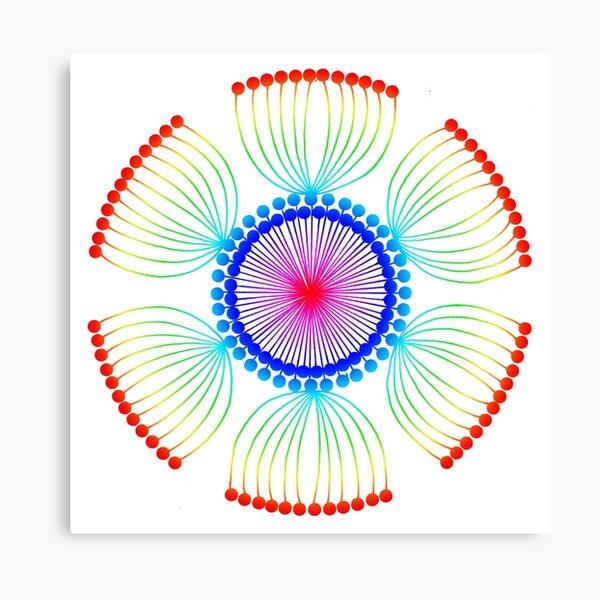 Rainbow Poppy Seed Mandala Canvas Print