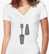 cartoon mascara Women's Fitted V-Neck T-Shirt