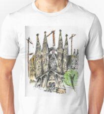 La Sagrada Familia - Watercolour & Pen T-Shirt