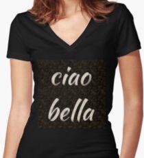 ciao bella 1 (hi beautiful) Women's Fitted V-Neck T-Shirt
