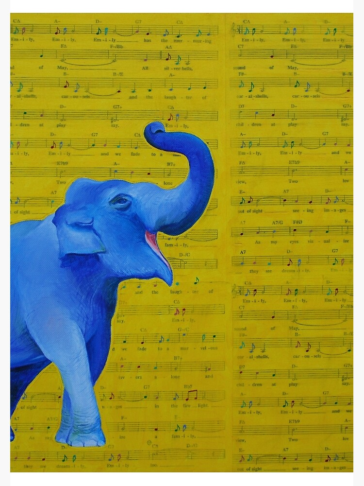 Happy Elephant Singing by emilypageart