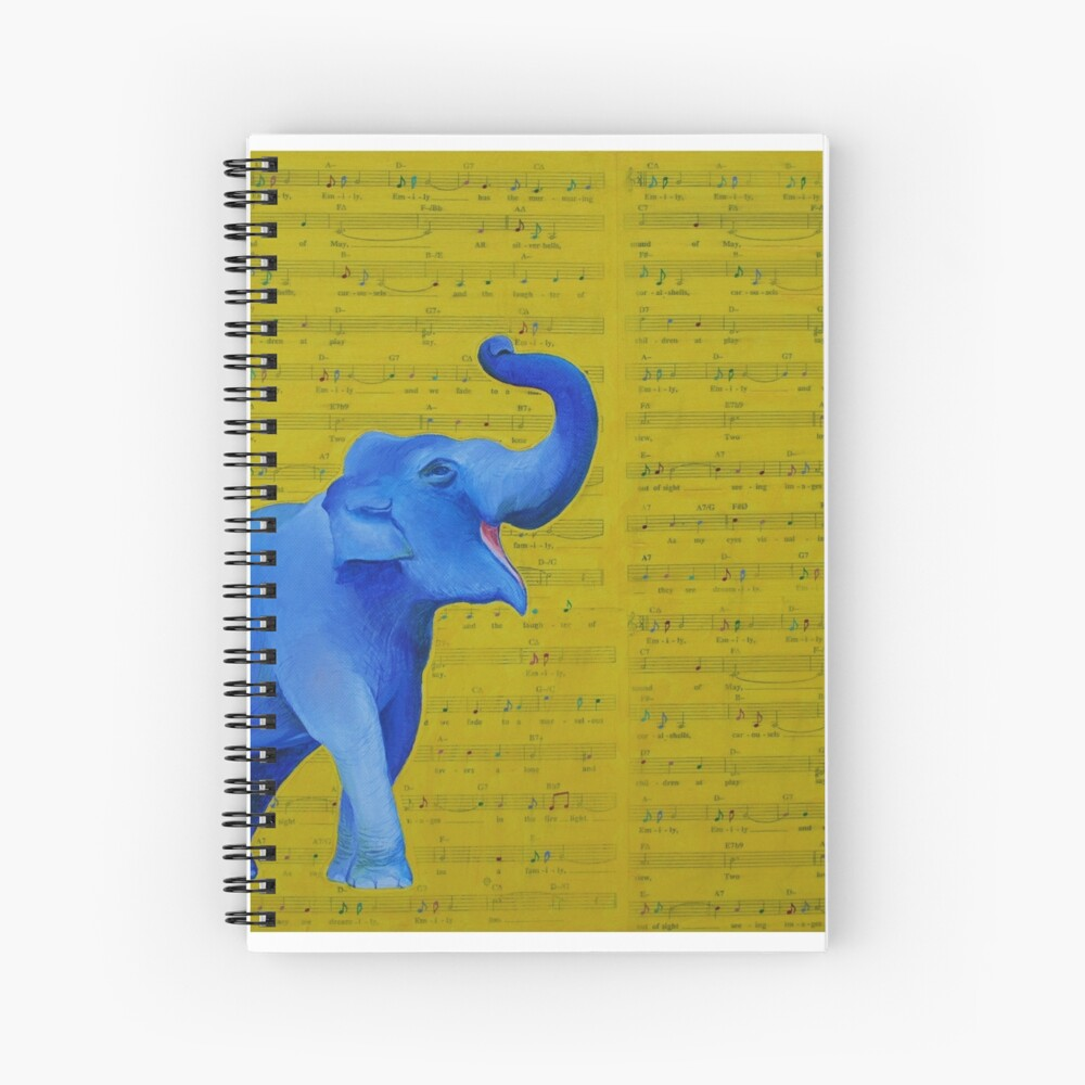 Happy Elephant Singing Spiral Notebook