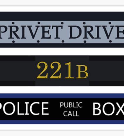 Privet Drive / 221B Baker Street / Police Box Sticker