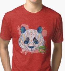 Ethnic Highly Detailed Panda Tri-blend T-Shirt