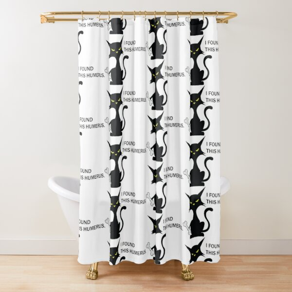 I Found This Humerus Funny Black Cat Shower Curtain