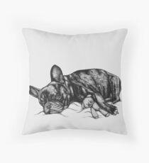 Sleepy French Bulldog Throw Pillow