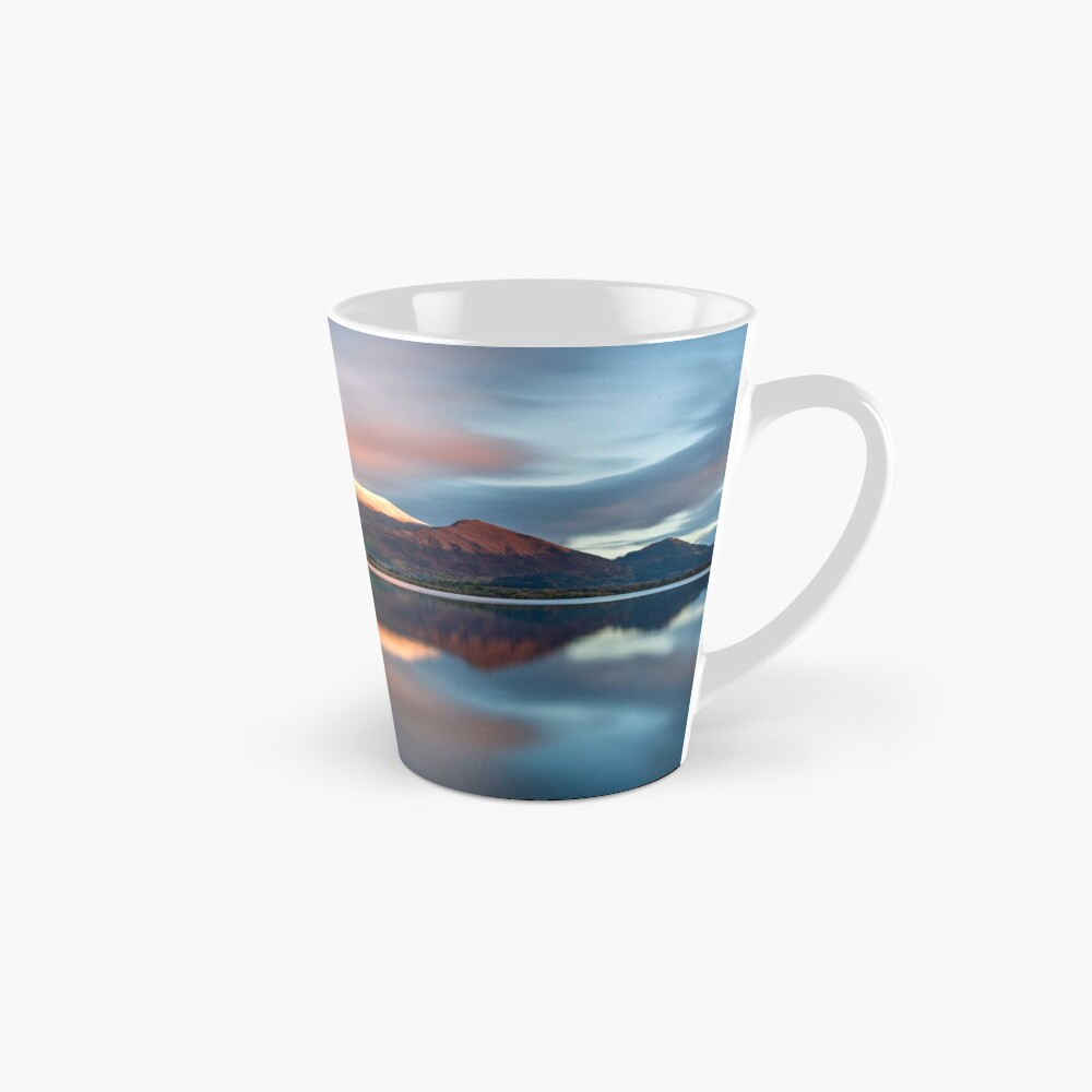 Sunset over the white summit of Skiddaw in the English Lake District Mug