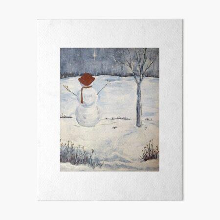 snowman at night Art Board Print