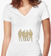 Crumpled Women's Fitted V-Neck T-Shirt