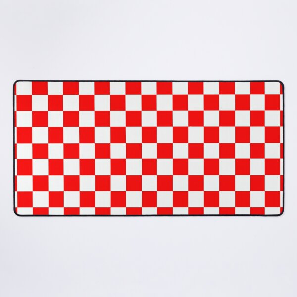 Red and White Checkered White and Red Checked  Desk Mat