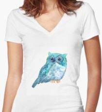 Sweet watercolor owl. Funny blue bird. Women's Fitted V-Neck T-Shirt