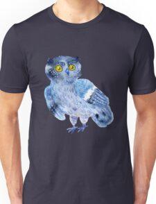 Sweet watercolor owl. Funny blue bird. Unisex T-Shirt