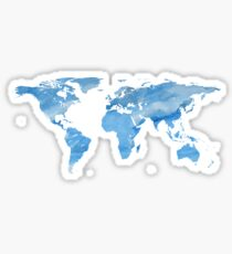 Map of the World | Blue Watercolour | Globetrotter Sticker