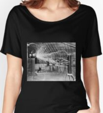 Nikola Tesla with his equipment (June 17, 1901) Women's Relaxed Fit T-Shirt