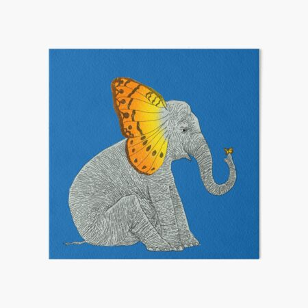 Elephant and Butterfly Art Board Print