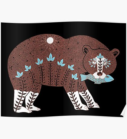 Folk Art Spirit Bear with Fish Poster