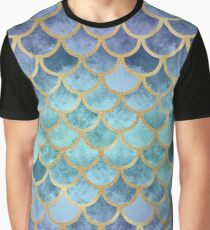 Blue Mermaid Fish Scales Graphic T-Shirt