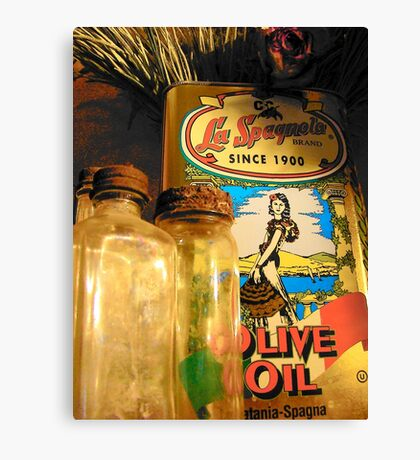 Olive Oil And Old Bottles Canvas Print