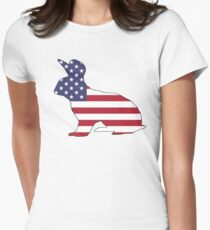 American Flag – Rabbit Women's Fitted T-Shirt