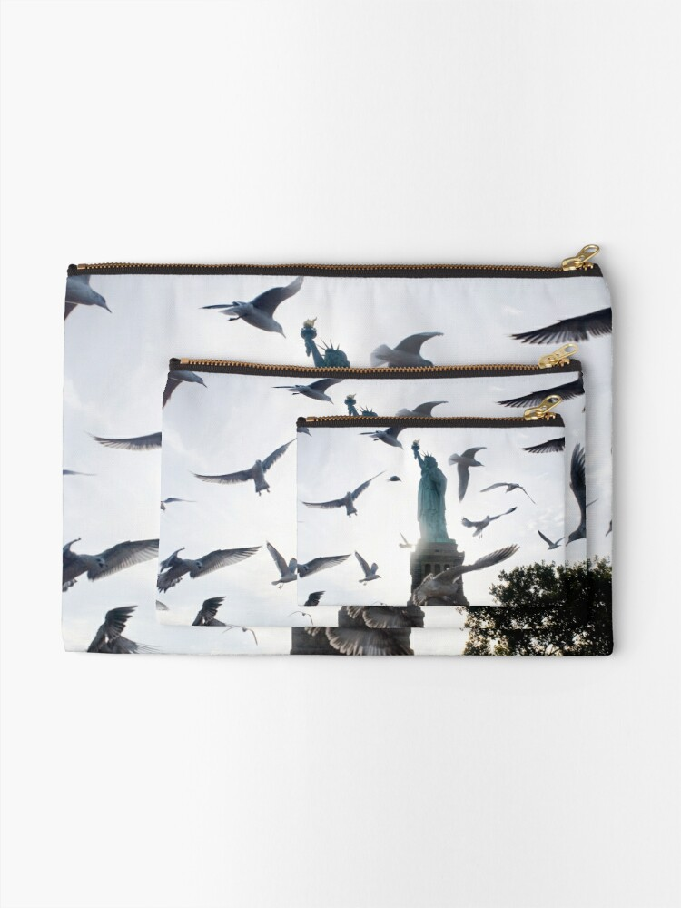 Alternate view of Statue of Liberty with Birds: NYC Zipper Pouch