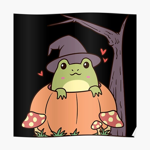 Cottagecore Aesthetic Frog with Witch Hat  Poster