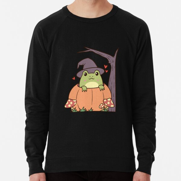 Cottagecore Aesthetic Frog with Witch Hat  Lightweight Sweatshirt