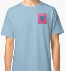 Blue Love Heart Decorated on Pink Background Classic T-Shirt