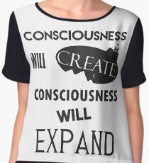 "Spiritual Tees: ""Consciousness Will Create, Consciousness Will Expand'' Women's Chiffon Top"