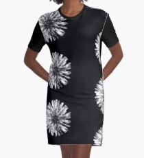 White Dandelion on Black Graphic T-Shirt Dress
