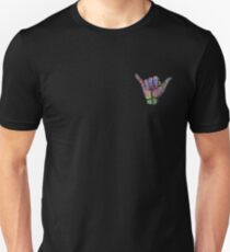 Rainbow Smoke Hang Loose Shaka Sign Unisex T-Shirt